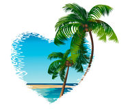 Two palm trees. On the background of the ocean Stock Photos