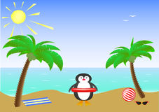 Two palm trees and a cute smiling penguin wearing sunglasses on a sandy island in the sea Royalty Free Stock Images