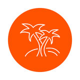 Two palm trees on an island,  round linear icon, flat style Royalty Free Stock Photography