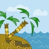 Two palm trees on an island in the sea royalty free illustration