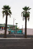 Two palm trees with pink kitsch motel in background Royalty Free Stock Image