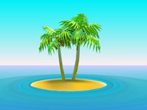 Two palm trees. Vector illustration of  two palm trees on island in the middle of ocean Stock Photos