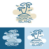 Two palm on the tropical island. Vector illustration - Two palm-tree on the tropical island. Three different variants Stock Photography