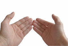 Two palms. Two palms, close-up, in gesture of the prayer, on white background, isolated Stock Image