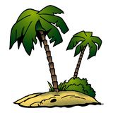 Two palms. Palm 02 - High detailed and coloured cartoon illustration Stock Image