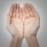 Two palms of the hand Stock Images