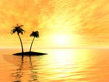 Two palms on a island Stock Images