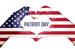 Two palms make heart shape. September 11 patriot day. Star stripped american flag united states Stock Photo