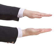 Two palms shows small size - hand gesture Stock Photography