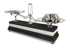 Two Pan Balance Scale And Platinum Stock Images
