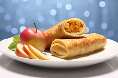 Two Pancakes with apple Royalty Free Stock Images