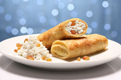 Two Pancakes with curds. Two Pancakes wiht curds on holiday background stock photography