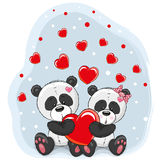 Two Pandas with heart Royalty Free Stock Image