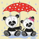 Two Pandas with umbrella Royalty Free Stock Image