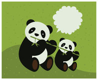 Two pandas. Vector illustration Stock Photo