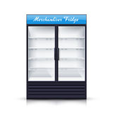 Two Panels Empty Fridge Realistic Illustration stock illustration