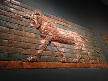 Two Panels with Striding Lions in Metropolitan Museum of Art. Royalty Free Stock Images