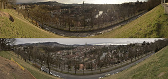 Two panoramic view of  old city of Bern. Switzerland. Royalty Free Stock Photos
