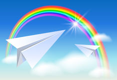 Two paper and rainbow Stock Images
