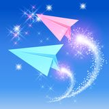 Two paper airplane Stock Image