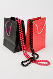 Two paper bag with pearls Stock Photography