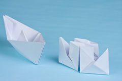 Two paper boats Stock Image
