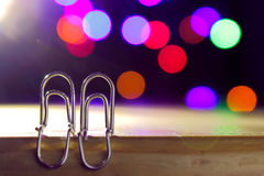 Two paper clip, lovers stock image
