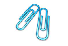 Two paper clips. Two 3d paper clips Royalty Free Stock Photography