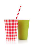 Two paper cups with takeaway drinks Royalty Free Stock Photo