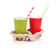 Two paper cups with takeaway drinks Royalty Free Stock Photos