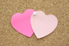 Two Paper Hearts Stock Photography