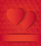 Two paper hearts card on red Royalty Free Stock Photo