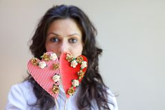 Two paper hearts Royalty Free Stock Photos