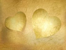 Two paper hearts over sheet. EPS 10 Royalty Free Stock Image