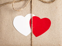 Two paper hearts together Royalty Free Stock Images