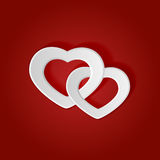 Two paper hearts Royalty Free Stock Photography