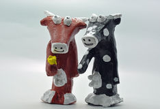 Two Paper mache cows Royalty Free Stock Photo