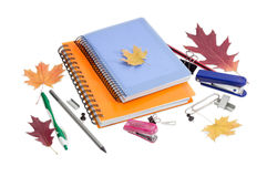 Two paper notebooks, stationery and a few autumn leaves Stock Photo