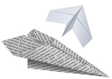 Two paper planes. Toy paper planes for games in a vector Stock Photos