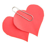 Two paper red hearts Royalty Free Stock Photography