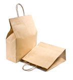 Two paper shopping bag on white Stock Photo