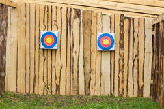 Two paper target on a wall Stock Images