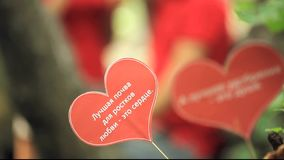 Two Papers Hearts With Love Text. On the background - a couple in red t-shirts gestures discussing something, then focus changes on two papers hearts with text stock footage