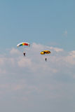 Two parachutes over the clouds Royalty Free Stock Images
