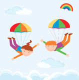 Two parachutists Royalty Free Stock Images