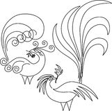 Two paradise birds. Are drawn by one line. There is a vector variant of drawing stock illustration