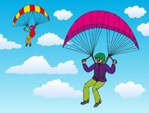 Two paragliders on sky. Vector illustration Stock Photography