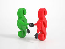 Two paragraph icons shaking hands Stock Photos