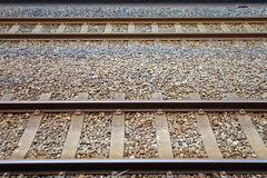 Two parallel railway tracks Stock Images
