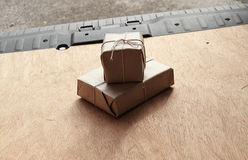 Two parcels waiting for delivery Stock Images